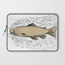 Brown Trout Waves Tattoo Laptop Sleeve