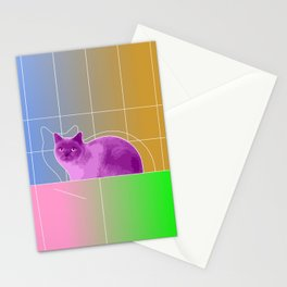 Neon Purple Cat on Colorful Background Stationery Cards