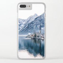 Snowy Mountain Town Clear iPhone Case