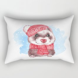 Winter ferret Rectangular Pillow