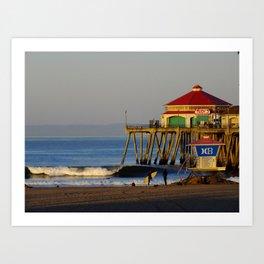 Morning Surfing Huntington Beach Pier Art Print