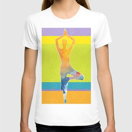 Simple silhouette of woman doing yoga T-shirt