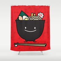 ramen Shower Curtains featuring Happy Ramen Bowl by Berenice Limon