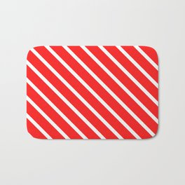Watermelon Red Diagonal Stripes Bath Mat