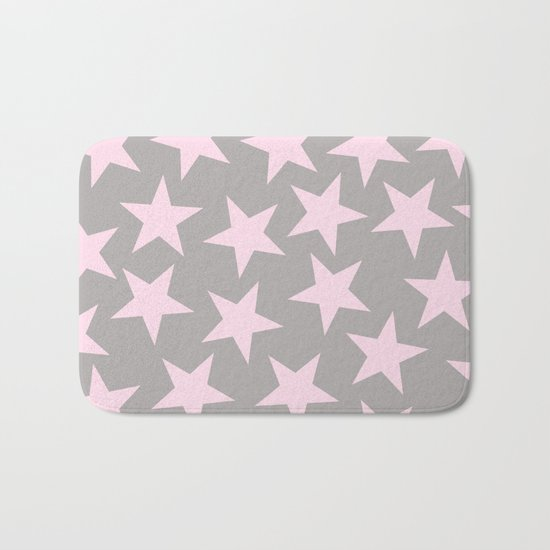 Pink stars on grey background on #Society6 Bath Mat