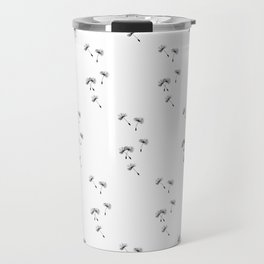 Dandelion Seeds In Black Minimalist Nature Travel Mug