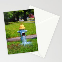 Fire Hydrant Gushing Water Stationery Cards
