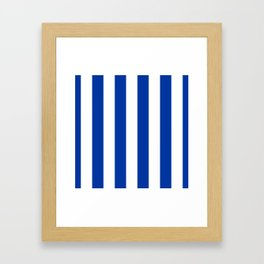 Dark Princess Blue and White Wide Vertical Cabana Tent Stripe Framed Art Print