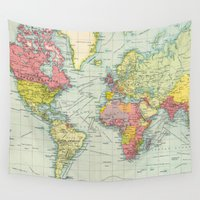political Wall Tapestries featuring Vintage Political Map of The World (1922) by BravuraMedia