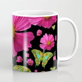FUCHSIA PINK COSMO FLORALS GREEN MOTHS Coffee Mug