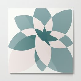 Abstract graphic bloom in teal and pale rose Metal Print