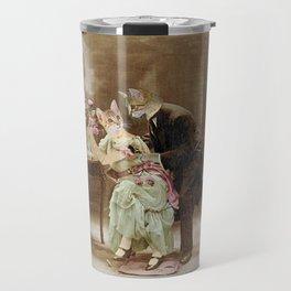 """Chats amoureux 1900, interrogeons les fleurs"" / ""Cats in love 1900, question the flowers"" Travel Mug"