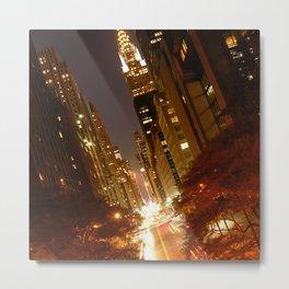 New York City: 42nd Street at Night Metal Print
