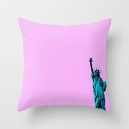 Blue Statue of Liberty on Pink Throw Pillow