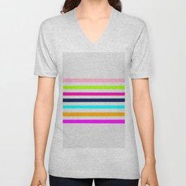 Modern neon colors geometrical whimsical stripes Unisex V-Neck