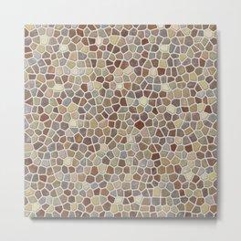Faux Stone Mosaic in Tan Metal Print