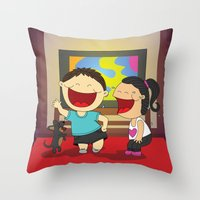 dancing Throw Pillows featuring Dancing! by LesliePinto