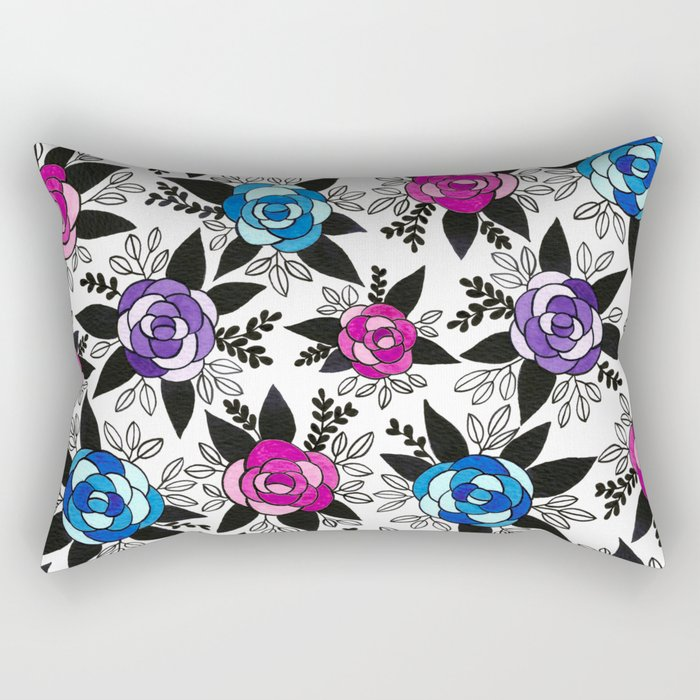 Black Rose Watercolor Rectangular Pillow