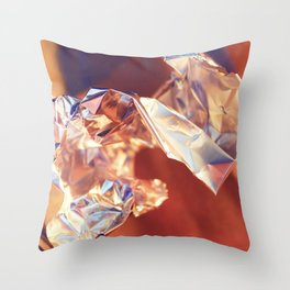 Abstract Fine Art from Macro Photography, Foil Manipulation Throw Pillow