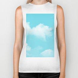 Aqua Blue Clouds Biker Tank