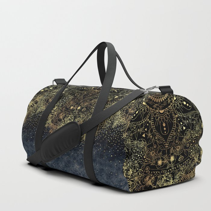 Stylish Gold floral mandala and confetti Duffle Bag