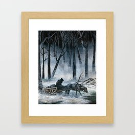 Grim Reaper with Horse in the Woods Framed Art Print