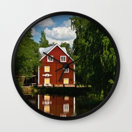 house on the river in Sweden Wall Clock