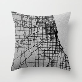 Black and white Chicago map Throw Pillow