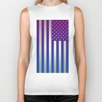 american flag Biker Tanks featuring American Flag by Tiede van der Steege