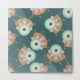 Turquoise floral pattern Metal Print