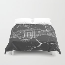 Shenzhen Map, China - Gray Duvet Cover