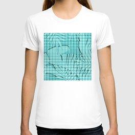 Turquoise Tropical Leaves Plaid Design T-shirt