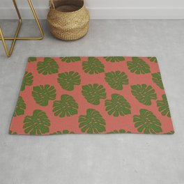 Green Leaves - Seamless pattern, Red Background Rug