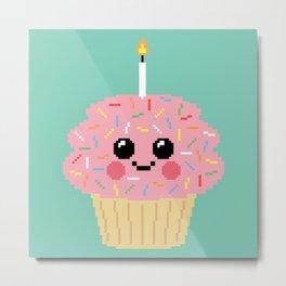 Happy Pixel Cupcake Metal Print