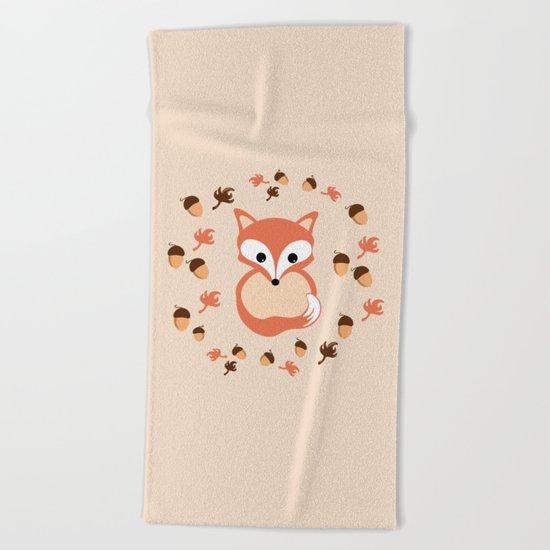 Fox in autumn Beach Towel