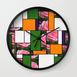 Pink Roses in Anzures 2 Art Rectangles 5 Wall Clock