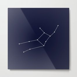 Virgo Astrology Star Sign Blue Minimal Metal Print