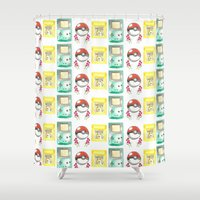 nintendo Shower Curtains featuring Nintendo Love by Laura Pulido
