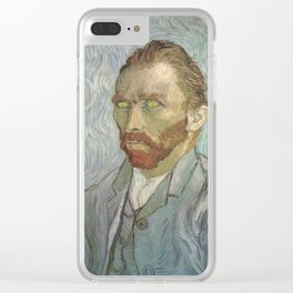 Van Gogh The Starry Night in His Eyes Self Portrait Oil Painting Clear iPhone Case