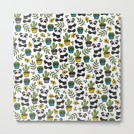 Panda Print, Succulents, Greenery and Cute Pandas, Flowers and Cactus Metal Print