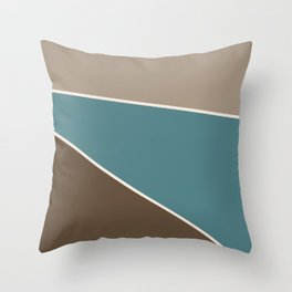 Diagonal Color Blocks in Browns and Teal Throw Pillow