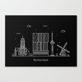 Rotterdam Minimal Nightscape / Skyline Drawing Canvas Print