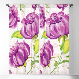 Purple Floral Wallpaper Abstract Design Blackout Curtain