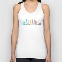 new york skyline Tank Tops featuring New York Skyline Black by Christopher Dina