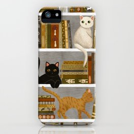 cat bookshelf iPhone Case