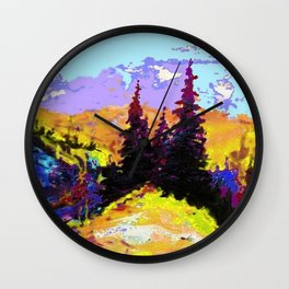 Decorative Abstract Blue Purple Landscape Art Wall Clock
