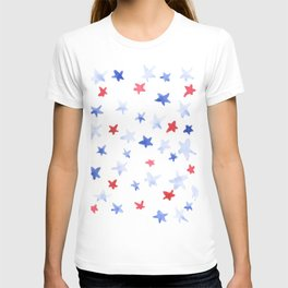 Red and Blue stars 4th of July watercolor design T-shirt