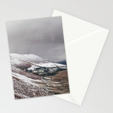 Keskadale from Newlands Hause, with surrounding mountains covered in snow. Cumbria, UK Stationery Cards