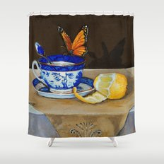 Teacup with Butterfly Shower Curtain