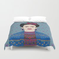 frida kahlo Duvet Covers featuring Frida Kahlo by Bianca Green